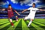 Cristiano Ronaldo vs Lionel Messi (montagem com estádio de fundo)