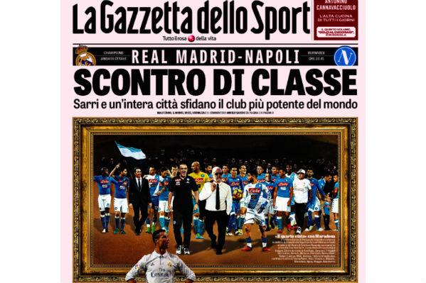 Capa do Gazzetta dello Sport sobre Real-Nápoles