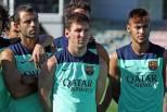 Messi e Neymar (treino Barcelona)